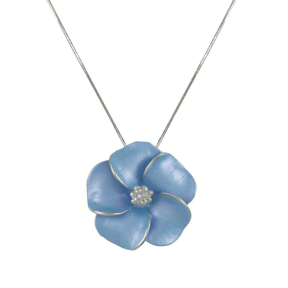 Pansy cornflower blue enamel flower silver tone pendant necklace izmirmasajfo