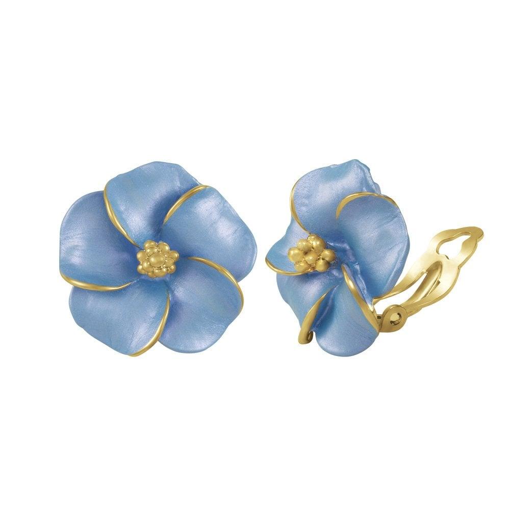 Pansy cornflower blue enamel clip on earrings pansy cornflower blue enamel gold tone stud clip on earrings izmirmasajfo