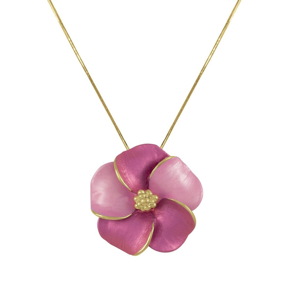 Pansy Fuchsia Pink Flower Pendant Necklace