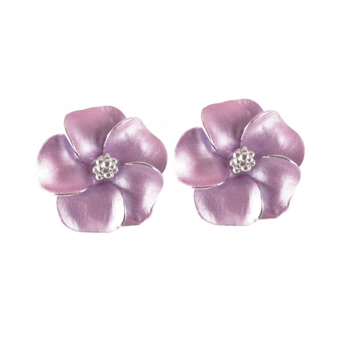 Pansy Lilac Enamel Silver Tone Pierced Earrings