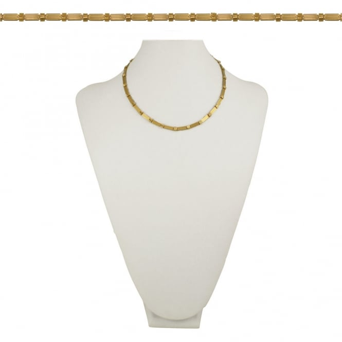 Piazza Flat Link 18 Inch Gold Tone Necklace