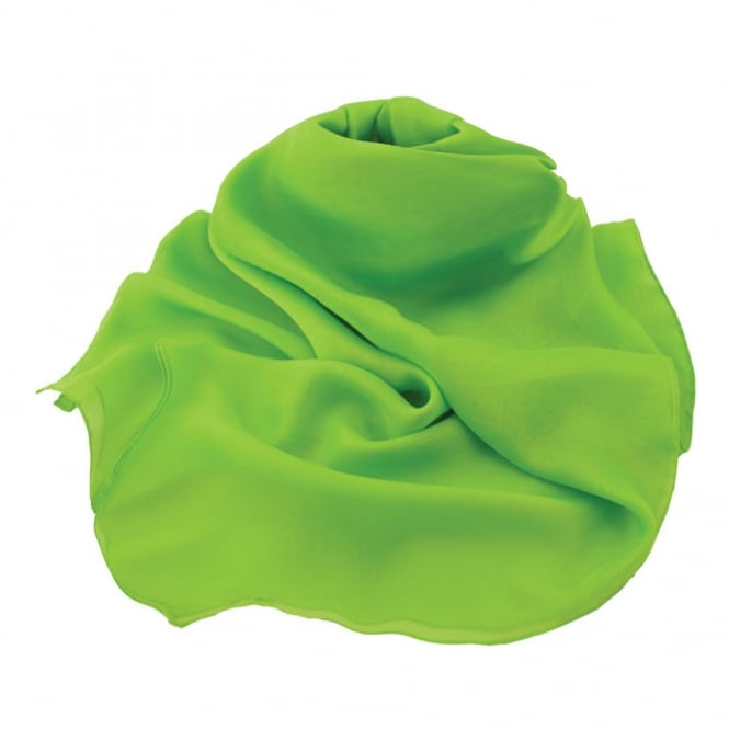 Plain Lime Green Large Square Pure Silk Chiffon Scarf