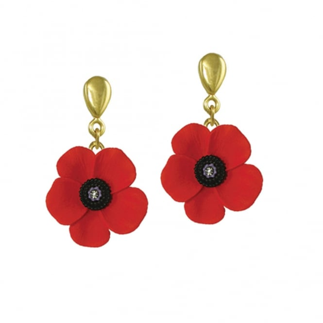 Poppy Red and Black Enamel Gold Tone Drop Clip On Earrings