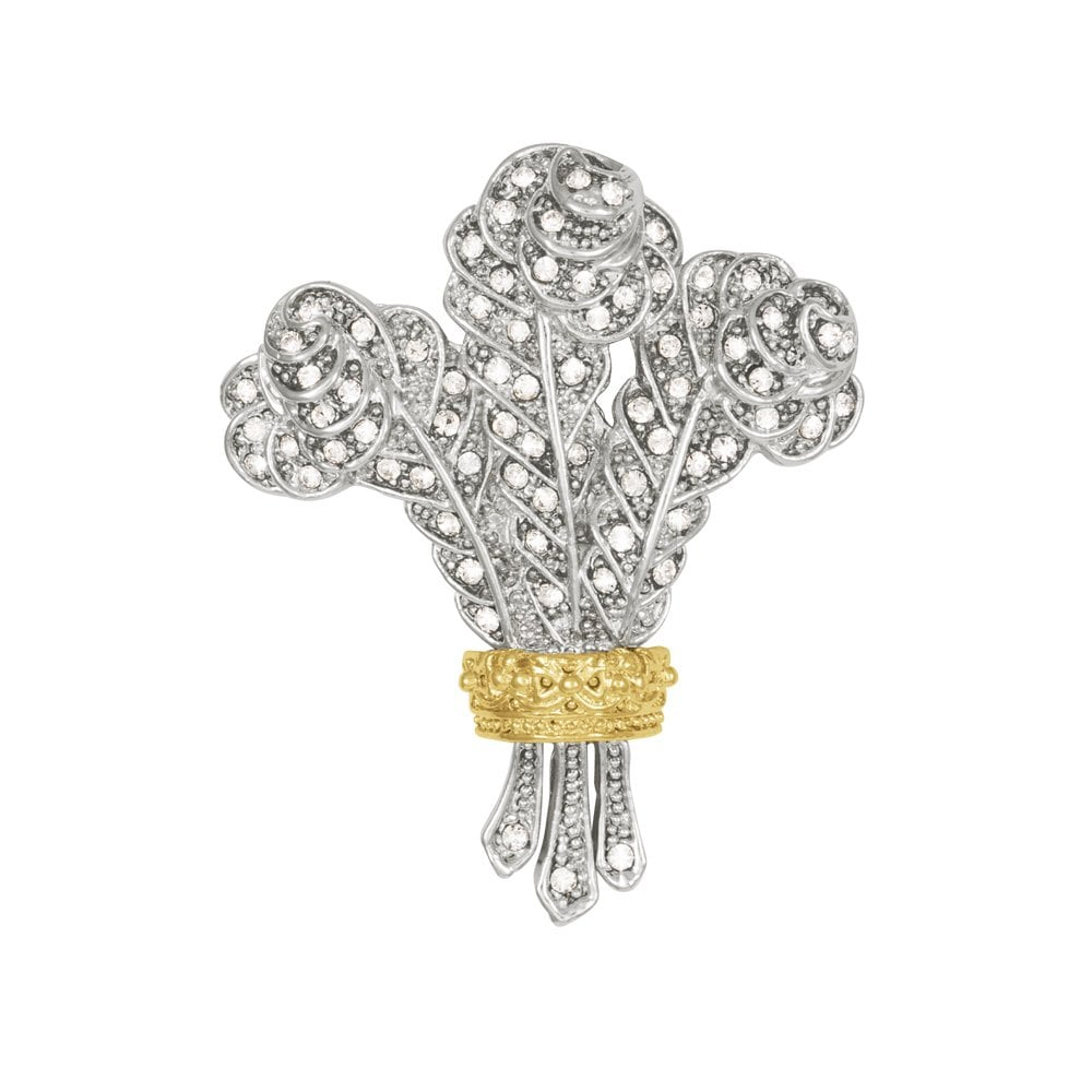 Prince Of Wales Feathers Swarovski Crystal Gold And Silver Tone Brooch