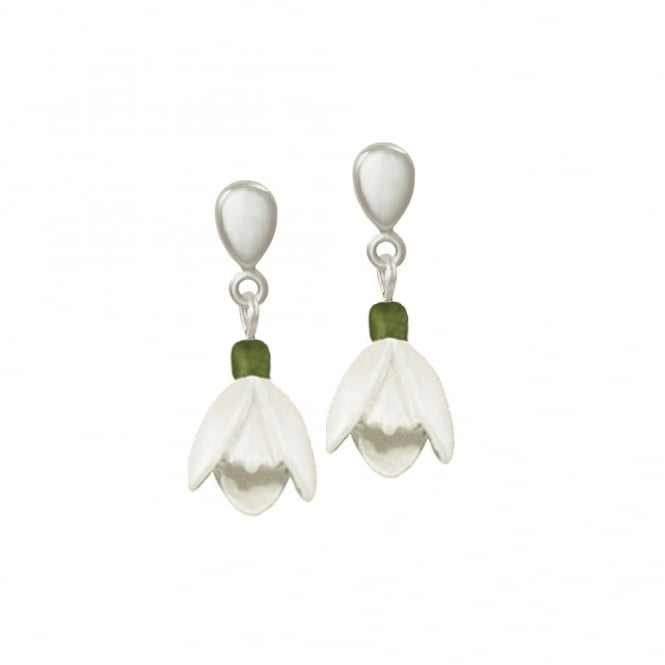 Promise of Spring White and Green Enamel Snowdrop Silver Tone Drop Clip On Earrings
