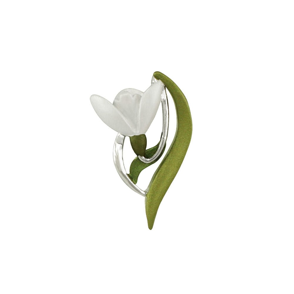 Promise of spring white and green enamel snowdrop silver tone flower promise of spring white and green enamel snowdrop silver tone flower brooch mightylinksfo