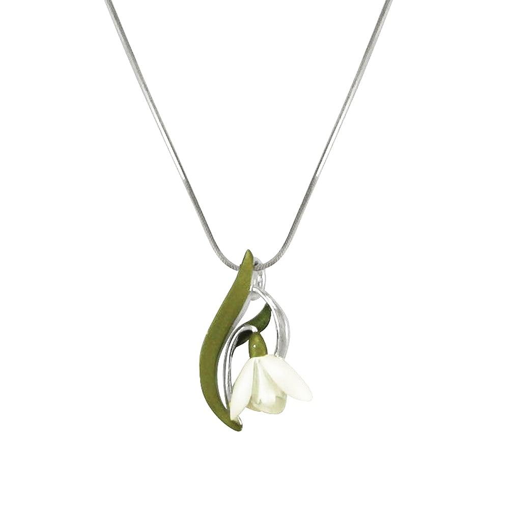 Promise of spring white and green enamel snowdrop silver tone flower promise of spring white and green enamel snowdrop silver tone flower pendant aloadofball Choice Image