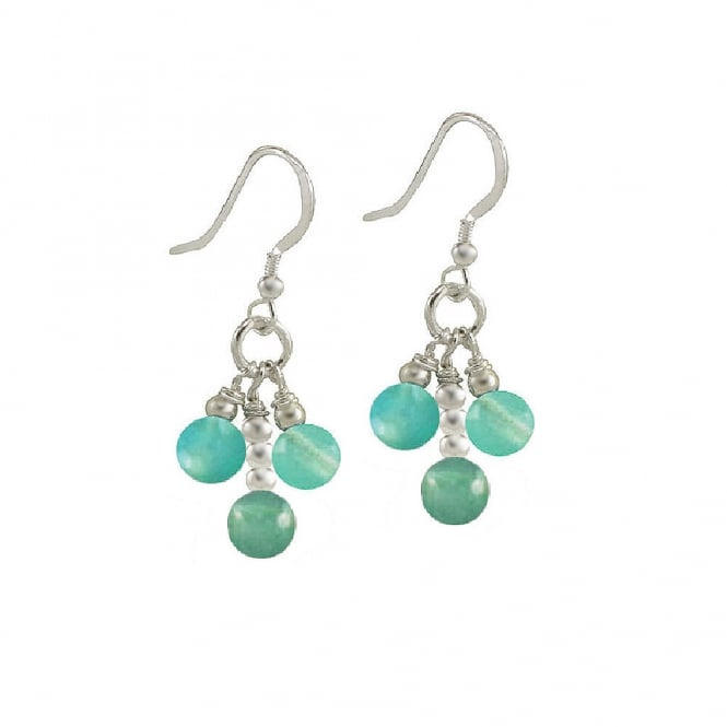 Radiance Aquamarine Agate Sterling Silver Drop Pierced Earrings