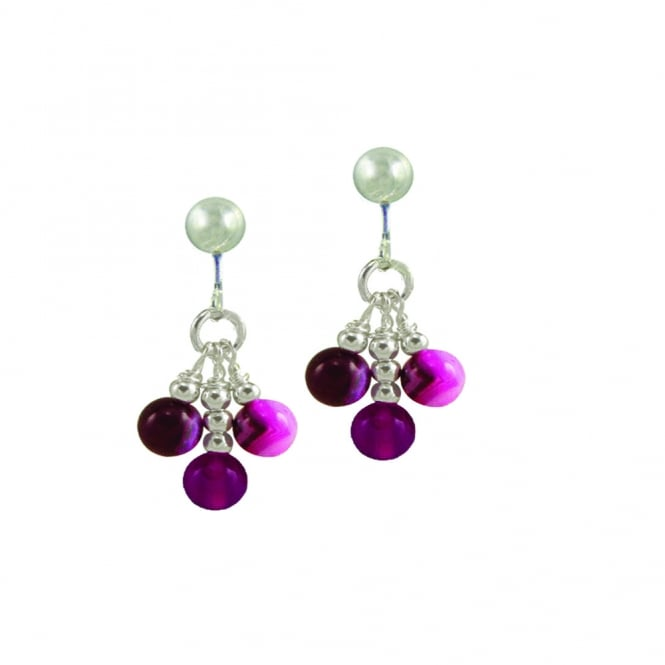 Radiance Fuchsia Agate Sterling Silver Drop Clip On Earrings