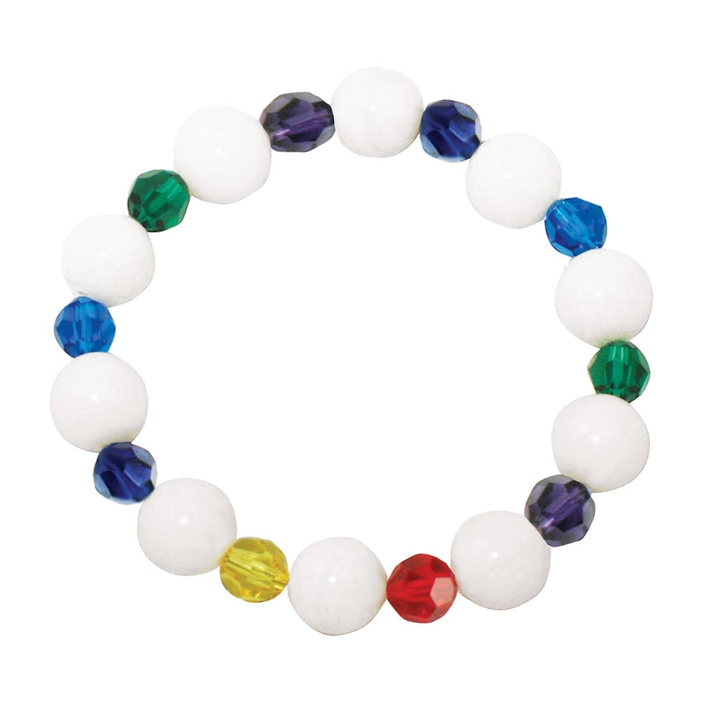 Over the Rainbow Multi Coloured Swarovski Crystal and White Mountain Jade  Stretch Bracelet 76385ab4bd