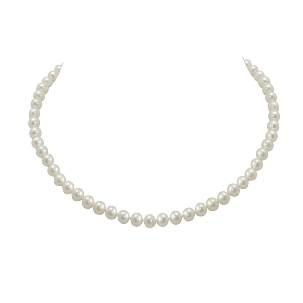 Single Strand Pearl Necklace: Regal Single Strand White Shell Pearl Necklace