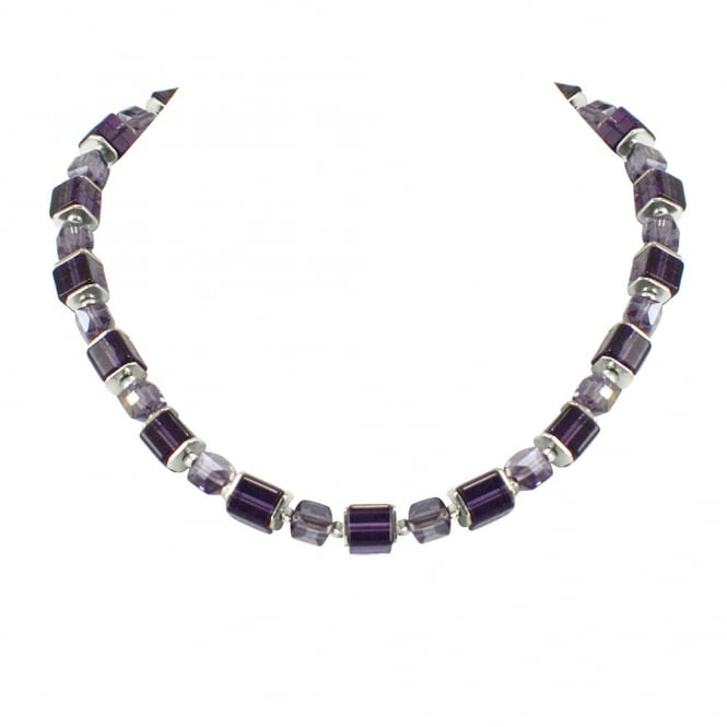 Rimini Damson and Amethyst Crystal Cube Silver Tone Necklace