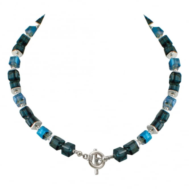 Rimini Electric Blue and Midnight Blue Crystal Cube Necklace