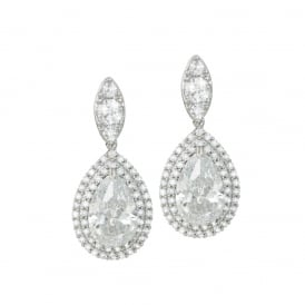 Savoy Clear Cubic Zirconia Silver Tone Drop Clip On Earrings