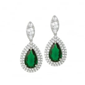 Savoy Emerald Green and Clear Cubic Zirconia Silver Tone Drop Clip On Earrings
