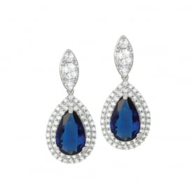 Savoy Sapphire Blue and Clear Cubic Zirconia Silver Tone Drop Clip On Earrings
