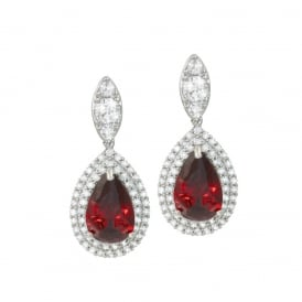 Savoy Siam Red and Clear Cubic Zirconia Silver Tone Drop Clip On Earrings
