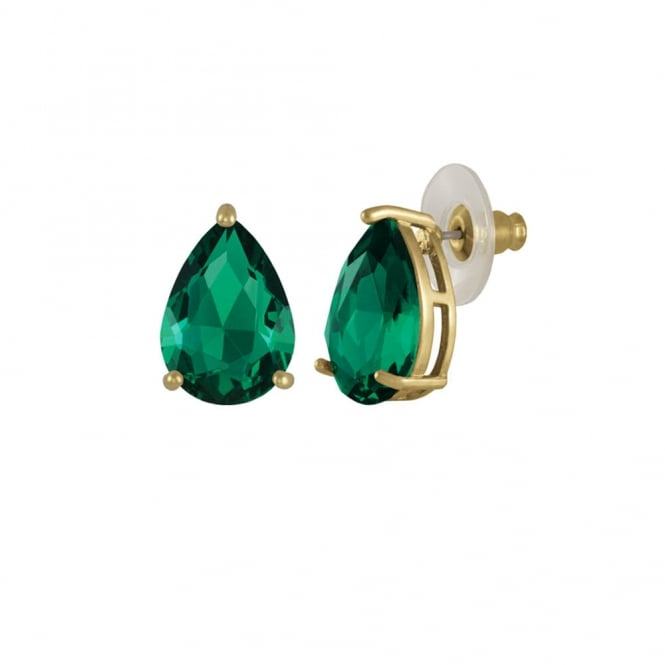 Seduction Teardrop Emerald Green Crystal Gold Tone Stud Pierced Earrings