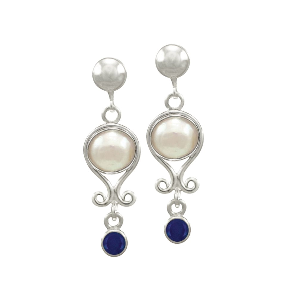 b1cad365a September Sapphire and Pearl Sterling Silver Birthstone Drop Clip On  Earrings
