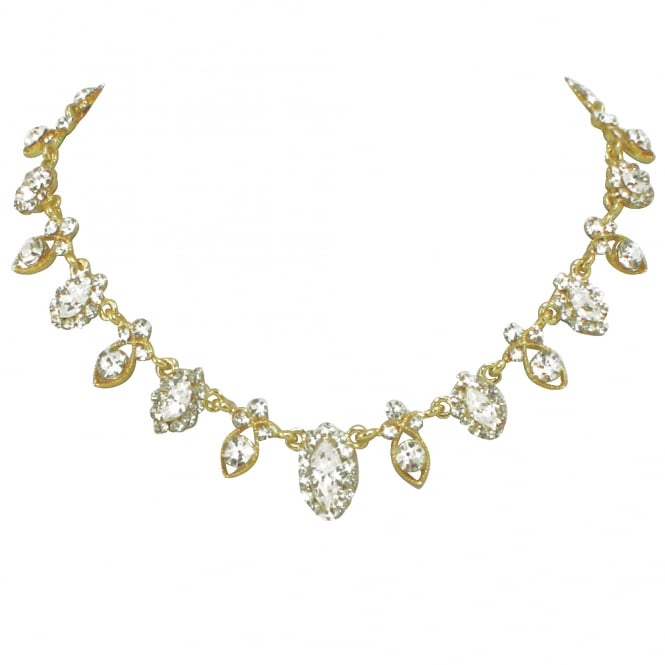 Shimmer Vintage Style Clear Crystal Gold Tone Necklace
