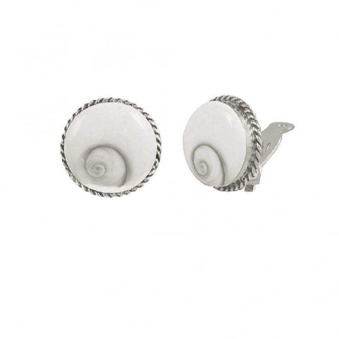 Shiva White Shell and Sterling Silver Stud Clip On Earrings