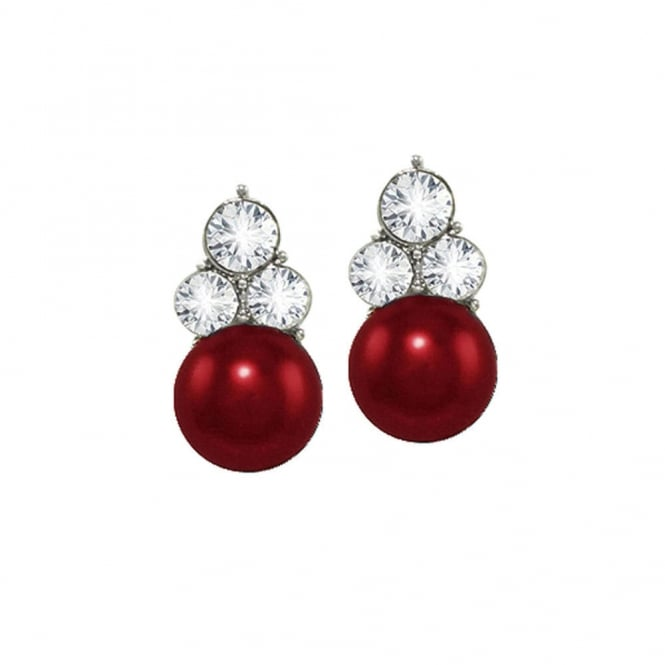 Signature Burgundy Red Glass Pearl and Crystal Silver Tone Stud Pierced Earrings