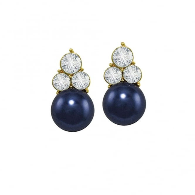 Signature Midnight Blue Glass Pearl and Crystal Gold Tone Stud Pierced Earrings