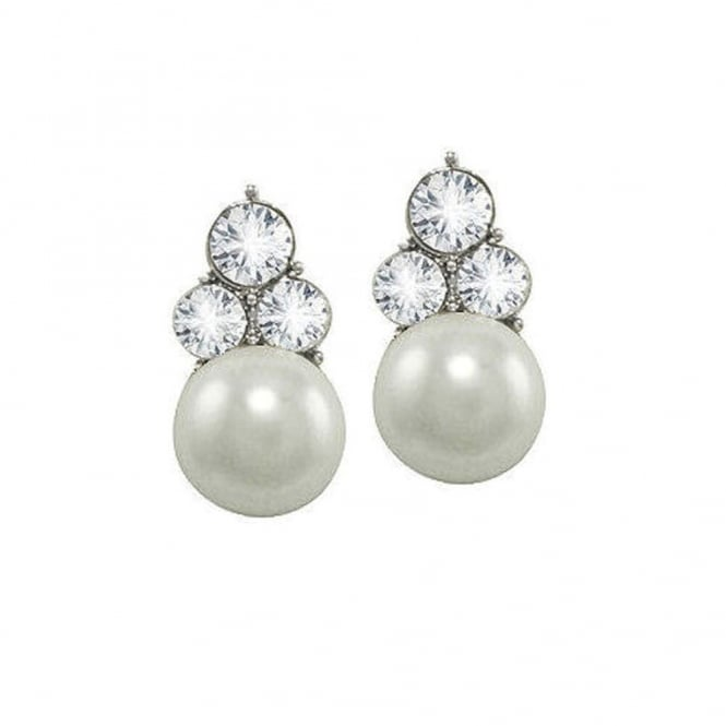 Signature White Glass Pearl and Crystal Silver Tone Stud Pierced Earrings