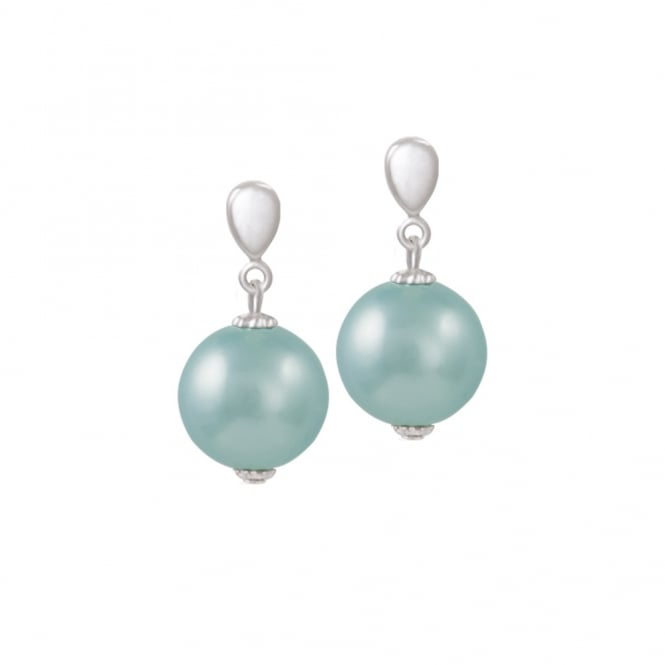 Skye Light Blue 12mm South Sea Shell Pearl Silver Tone Drop Clip On Earrings