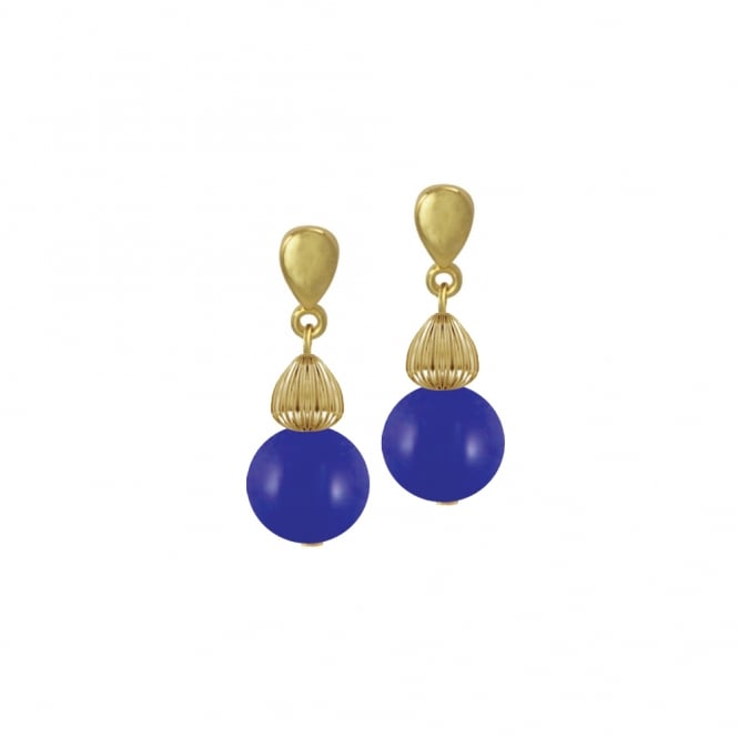 Solitaire Royal Blue Pearl Gold Tone Drop Clip On Earrings