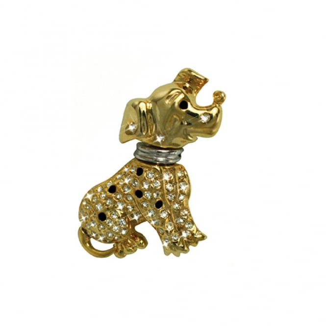 Spot the Dog Swarovski Crystal Gold Tone Brooch