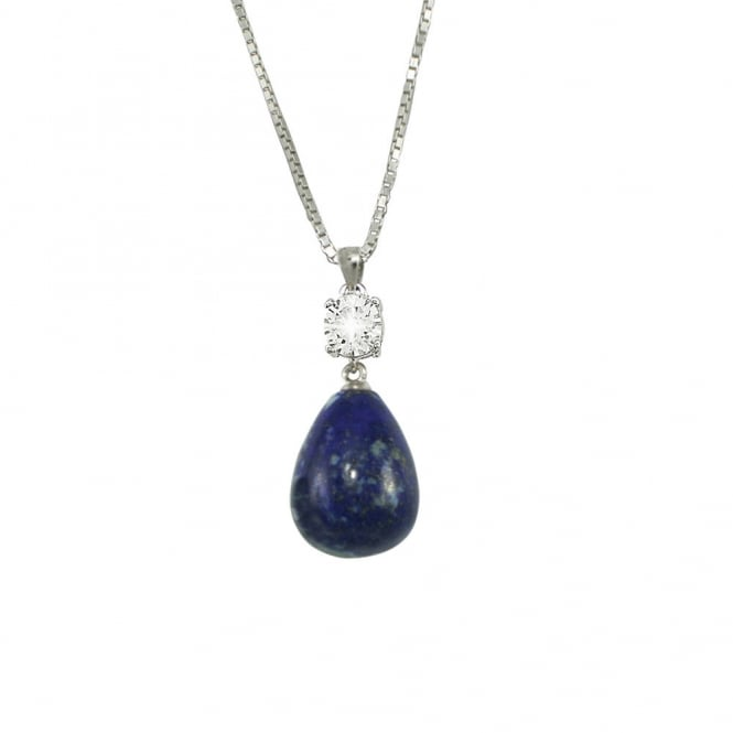 Supreme Lapis Lazuli and Cubic Zirconia Solitaire Sterling Silver Pendant Necklace