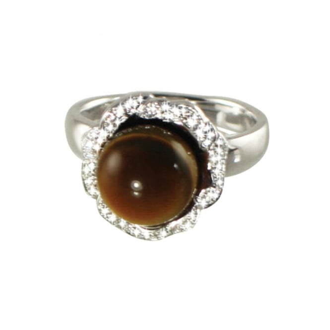 Supreme Tiger's Eye and Cubic Zirconia Sterling Silver Adjustable Ring
