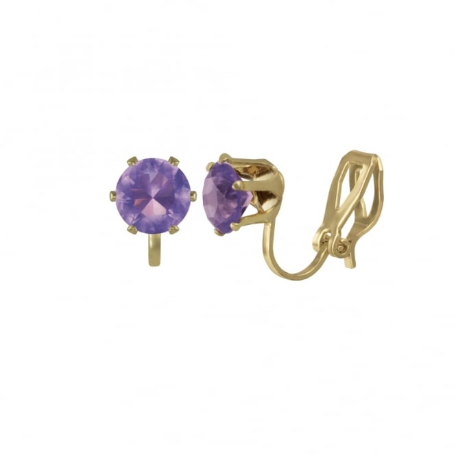 Tara Amethyst Crystal Gold Tone Stud Clip On Earrings