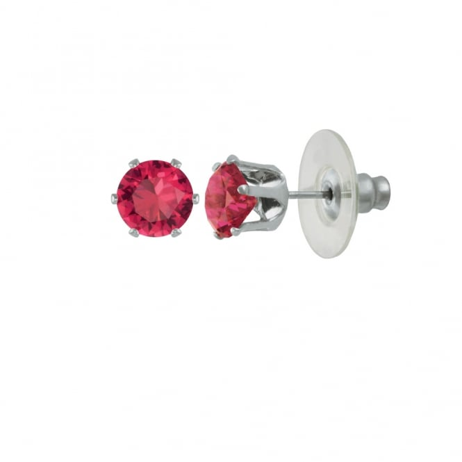 Tara Fuchsia Pink Crystal Silver Tone Stud Pierced Earrings