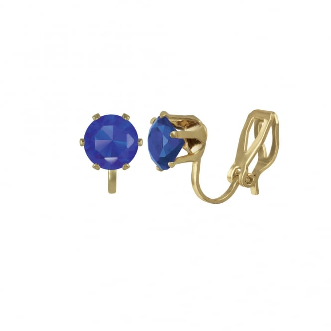 Tara Sapphire Blue Crystal Gold Tone Stud Clip On Earrings