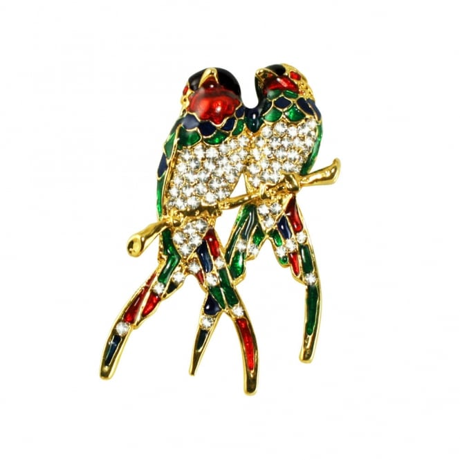 Two's Company Exotic Enamel and Austrian Crystal Gold Tone Bird Brooch