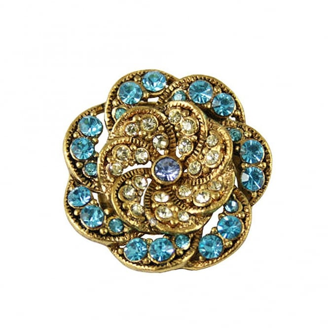 Vintage Style Turquoise and Jonquil Gold Scarf Clip