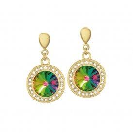 4aa65e3dc Viva Green Vitrail Austrian Crystal Gold Tone Drop Pierced Earrings
