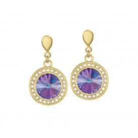 775be0341812 Viva Vitrail Light Austrian Crystal Gold Tone Drop Clip On Earrings
