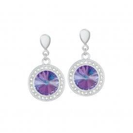 ecf2ba43982a Viva Vitrail Light Austrian Crystal Silver Tone Drop Clip On Earrings