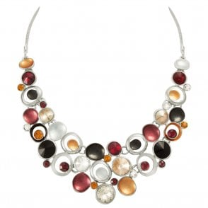 Engagement & Wedding Vivacious Natural Multi Enamel Crystal Rose Gold Tone Statement Necklace